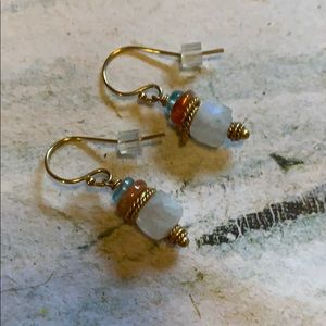 Dainty handcrafted earrings moonstone gold